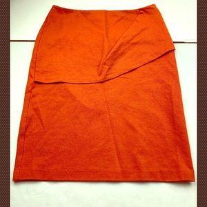 Cabi Overlay Pencil Skirt Size 6 Turmeric Orange